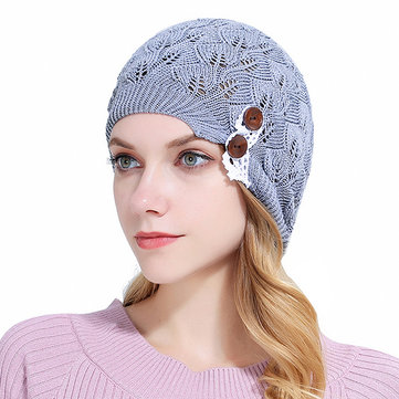 Women Lace Button Hollow Knitted Beanie Hats Casual Warm Woolen Bonnet, Purple black sky blue pink