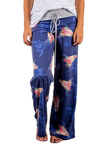 Floral Patchwork Drawstring Waist Women Pants, Blue light grey dark grey