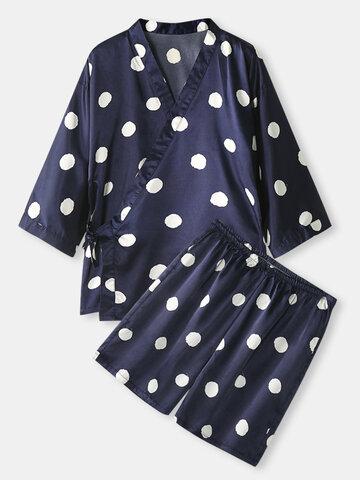 Polka Dot Print Kimono Satin Pajamas