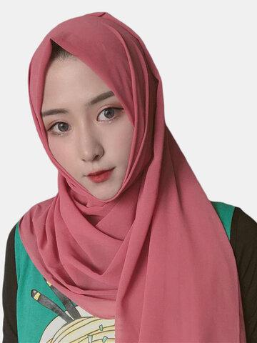 اللون وشاح إسلامي حجاب شيفون طويل