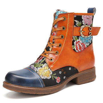 Flowers Embroidery Leather Splicing Zipper Ankle Boots