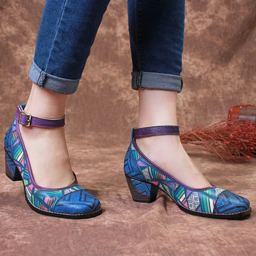 Colorful Genuine Buckle Strap Pumps