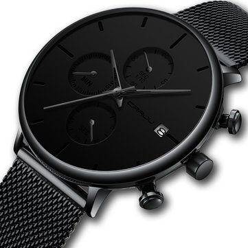 Men Full Mesh Steel Quartz Watch
