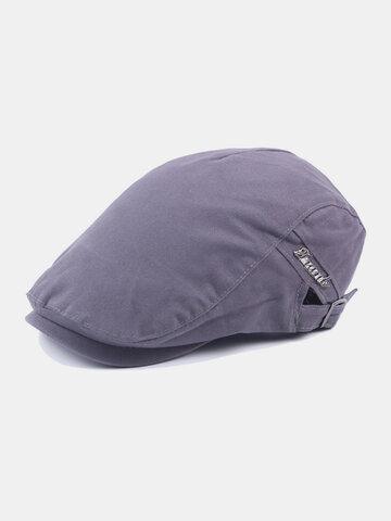 Men Cotton Plain Color Adjustable Casual Flat Hat