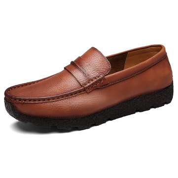 Men Soft Cow Leather Loafers Wear-resistant Casual Shoes