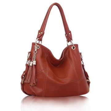 Women Vintage Tassel Embossed PU Leather Handbag