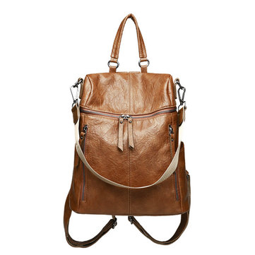 Women Vintage Faux Leather Large Capacity Backpack