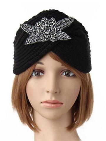 Turban Knit Crochet Handmade Headband Winter Warm  Beanie Hat Metal Jewel Accessory