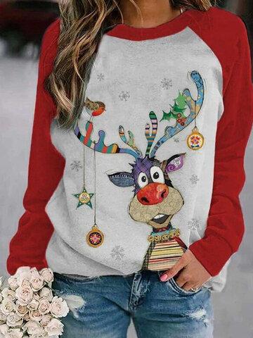 Cartoon Christmas Printed O-neck Sweatshirt