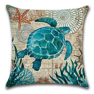 Federa in cotone lino stampa di oceano