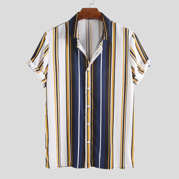 Mens Hit Color Striped Henley Shirts