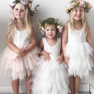 Layered Tulle Dress For Girls 2Y-9Y