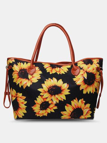 Sunflower Leopard Printed Lightweight Canvas Large Capacity Tote Shoulder Bag