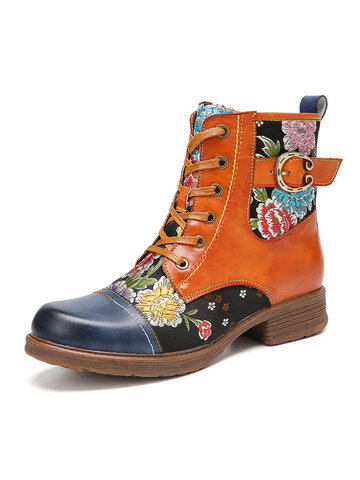 SOCOFY Flowers Embroidery Genuine Leather Splicing Comfy Round Toe Zipper Ankle Boots