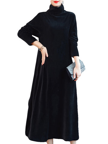 Solid Color Turtleneck Velvet Dress