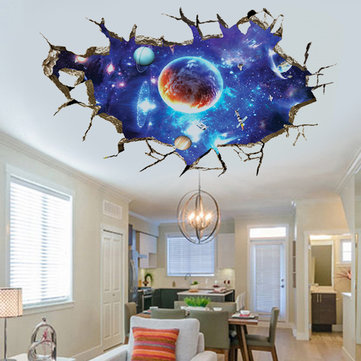 Espaço exterior amovível 3D Planet Wall Stickers Waterproof Home Decor