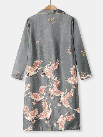 Plus Size Crane Pattern Home Robes
