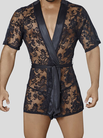 Mens Floral Lace See Through Robes