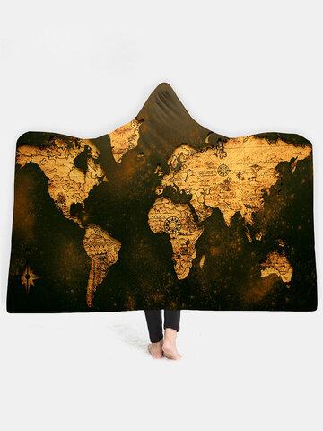 3D Digital Printing World Map Adult Hooded Blanket