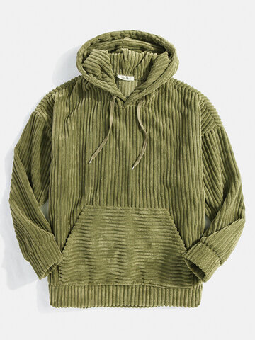 Corduroy Solid Drawstring Hoodies