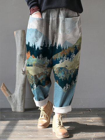 Landscape Print Corduroy Pants