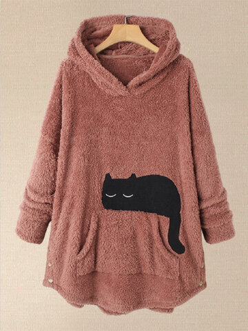 Fleece Black Cat Print Hoodie