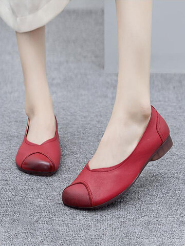 Ethnic Comfy Soft Wide Fit Round Toe Slip On Loafers