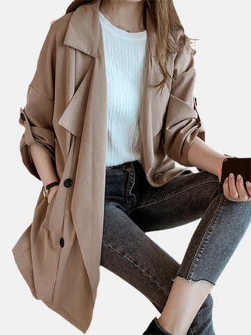 Solid Color Long Sleeve Suit Jacket