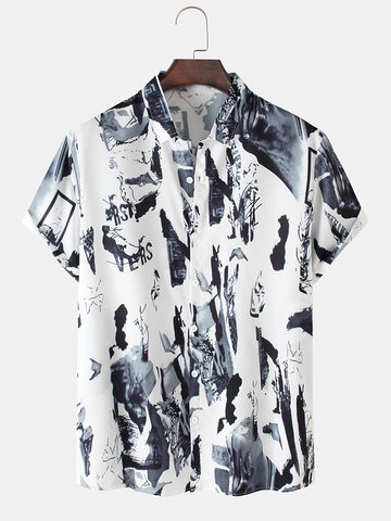 Scenery Ink Painting Print Shirts