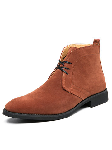 Men Suede Pointed Toe Dress Ankle Boots