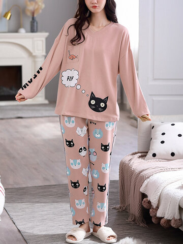 Cotton Cat Print V-Neck Pajamas