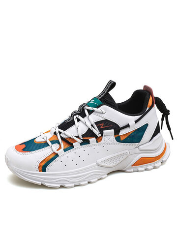Men Fashion Color Block Breathable Sneakers