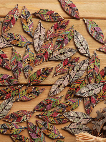 50 Pcs Retro Leaves Shaped Wooden Buttons