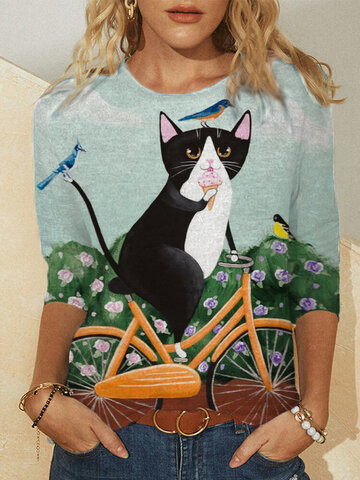 Cartoon Cat Print Cotton T-shirt