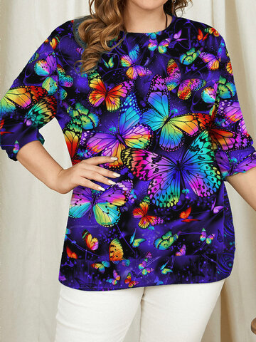 Butterfly Printed Casual Women T-Shirt