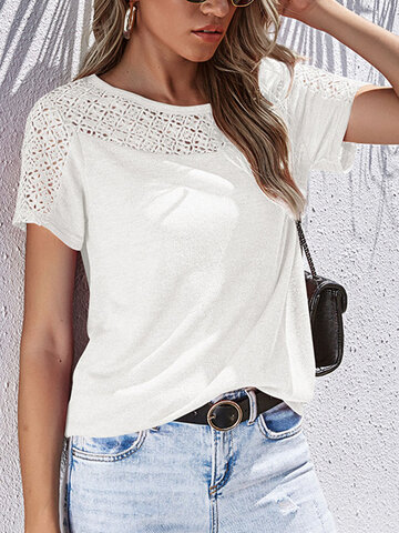 Solid Color O-neck Hollow T-shirt