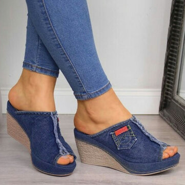 Stitching Denim Comfy Wedges Slippers