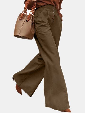 Solid Color Pocket Casual Pants