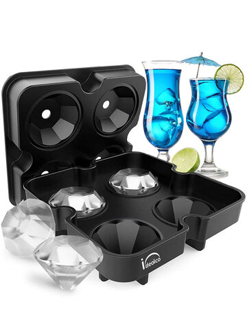 4 Grids Diamant Form Ice Cube Mold Ice Mold Maker Bar Party Silikon Ice Trays for Kitchen Storage Tool