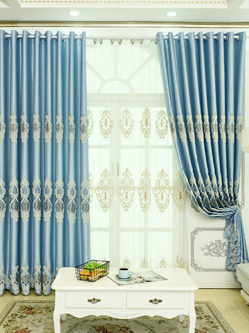 European-style Embroidered Curtains And Embroidered Window Screens Shading Heat Insulation 3D Relief Curtains