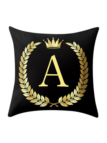 Golden Royal Crown Olive Branch Alphabet Peach Skin Cushion Cover Home Art Decor Sofa Pillowcases