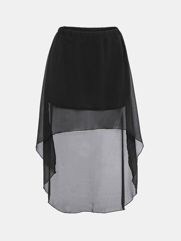 Women Asymmetric High-low Elastic Waist Skirt