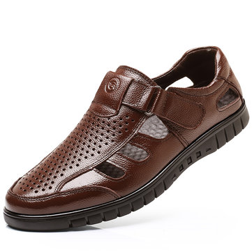 Men Leather Breathable Soft Casual Sandals