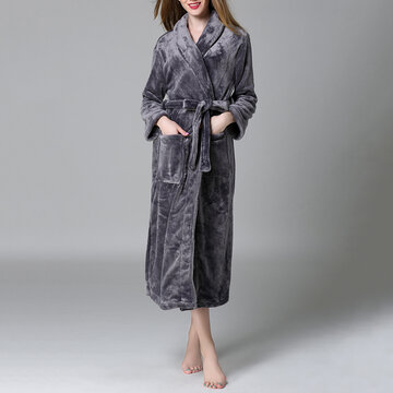 Plus Size Flannel Soft Belt Thickening Pajamas
