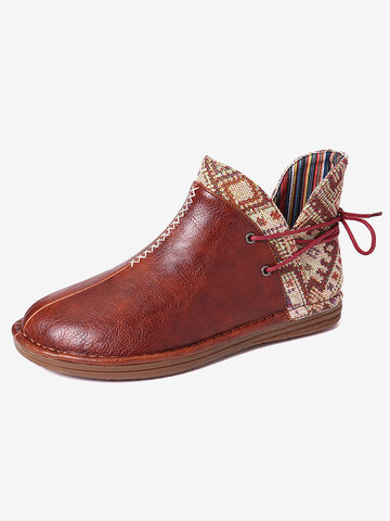 Leather Splicing Cloth Printing Boots