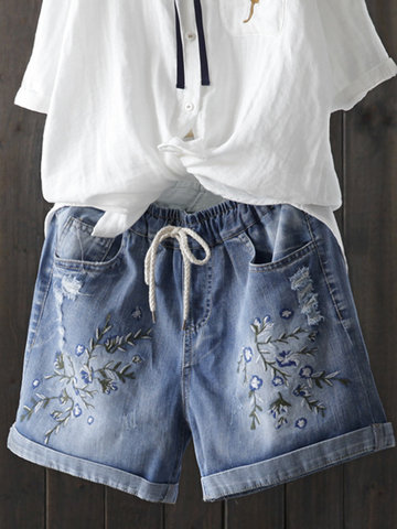Embroidered Drawstring Short Jeans