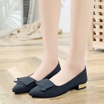 Pointed Single Shoes Female New Season Net Red Wild Shallow Mouth Thick With Peas Shoes Fairy Low Heel Scoop Shoes