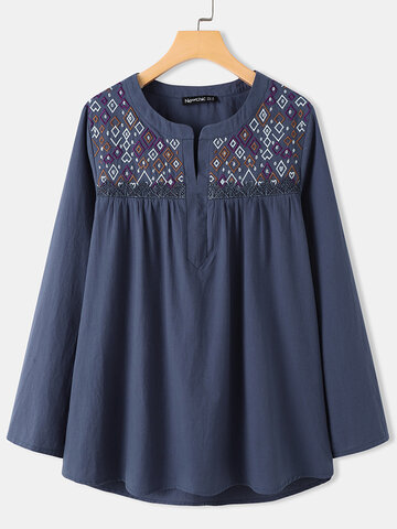 Tribal Embroidery Long Sleeve Blouse