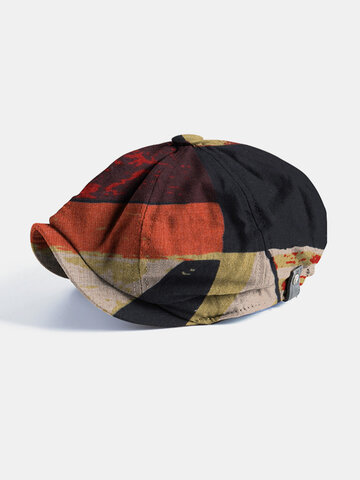 Men Patchwork Color Pattern Casual Short Brim Newsboy Caps
