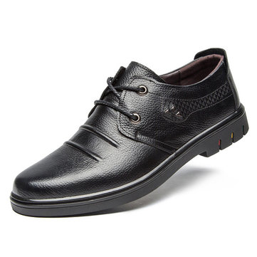 Men Leather Oxfords Lace Up Formal Casual Shoes фото